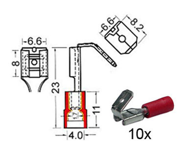 RTA 151.404-0 Receptacles with insulated tap  + m6,3mm + w6,3mm red