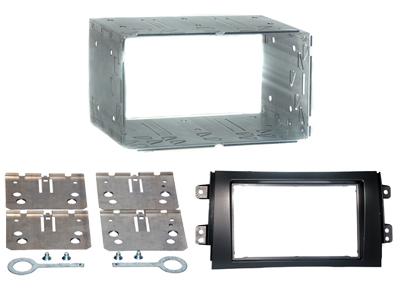 RTA 002.434-0 Doppio DIN telaio di montaggio con telaio nero lamiera ABS