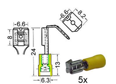 RTA 151.406-0 Flachsteckhülsen isoliert mit Abzweiger w6,3mm + m6,3mm gelb