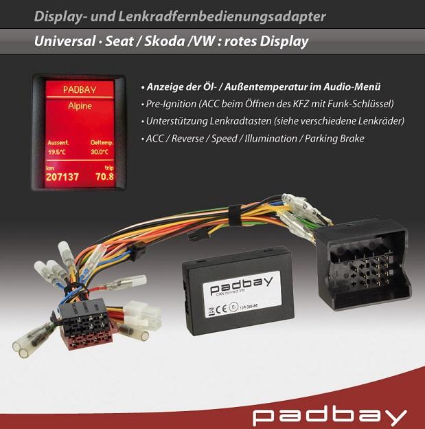 41-1324-704 Padbay Display- und Lenkradfernbedienungsadapter Padbay Interface auf Kenwood für Seat, Skoda, VW - Modelle mit rotem Display