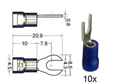 RTA 151.413-0 Clamp fork lug insulated 4mm blue