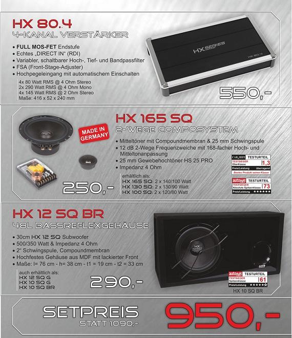 Audio System HX SERIES Komplett-Set wahlweise mit HX 12 SQ BR od. HX 10 SQ BR od. HX 10 SQ G + HX 80.4 + wahlweis HX 10 ,13 oder 16cm Lautsprecher
