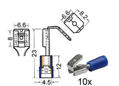 RTA 151.405-0 Receptacles with insulated tap m6.3mm - w6.3mm blue
