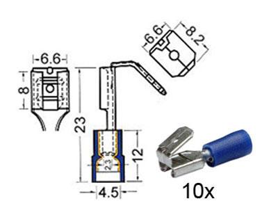 RTA 151.405-0 Flachsteckhülsen isoliert mit Abzweiger m6,3mm - w6,3mm blau