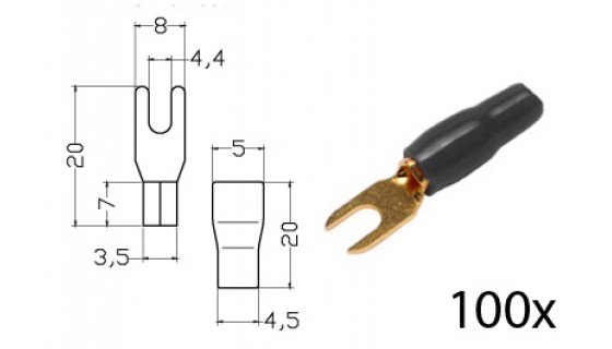 RTA 152.357-2 Clamping - fork terminals insulated, gold-plated, 100x BLACK 4.0 - 6,0mm² diam. 4mm