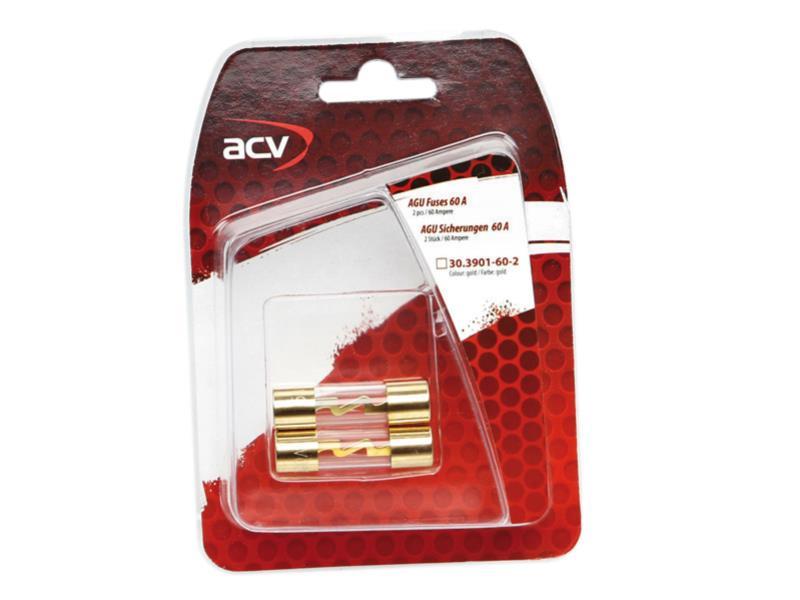 ACV 30.3901-60-2 AGU fusibles 60 ampères (or) 2 pièces