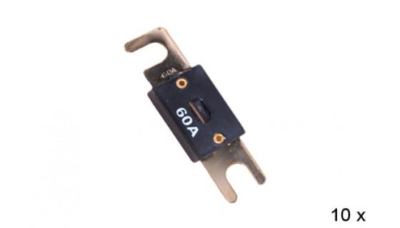 RTA 154.600-2 ANL fusibles, plaqué or, 60A - 10 pcs en blister.