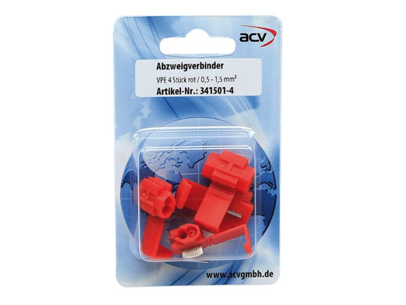 ACV 341501-4 Branching connector red 0.5 - 0.75 5 mm² (4 pieces)