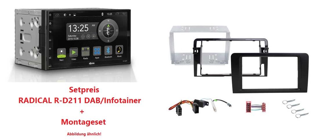 RADICAL R-D211 DAB+ Infotainer + R-D005 Montageset Audi A3 8P/8PA Teilaktiv Quadlock Setpreis
