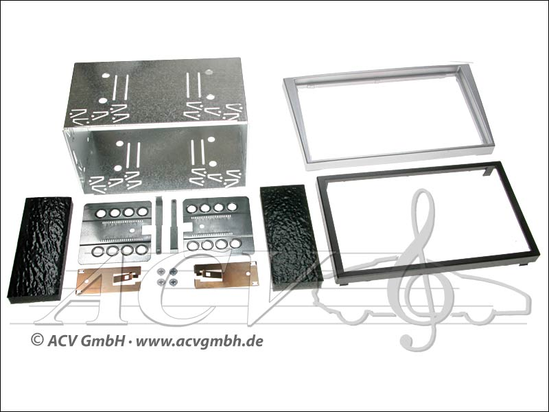 Double-DIN installation kit rubber touch Opel 2000 -> Color: silver