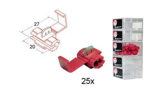 RTA 151.401-2 Branching connector, RED 20x27 mm in 25-pack