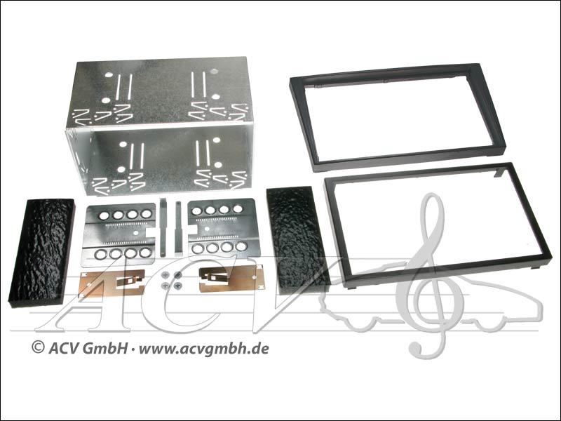 Double-DIN installation kit rubber touch Opel 2000 -> Color: Black