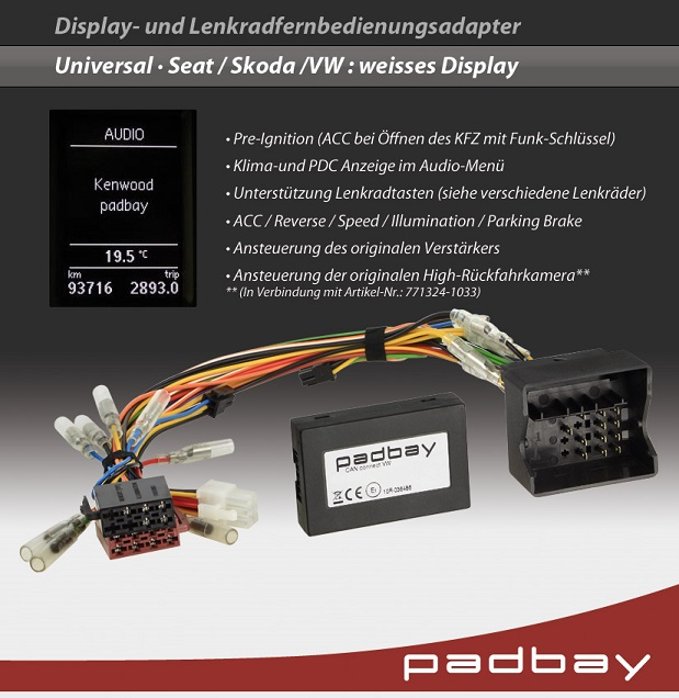 41-1324-302 Padbay Display- und Lenkradfernbedienungsadapter Padbay Interface auf Pioneer für Seat, Skoda, VW