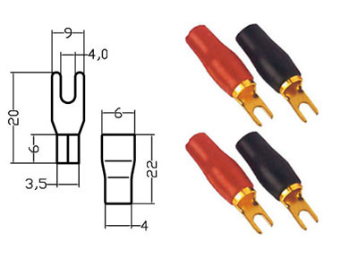 RTA 152140-0 clamping Gabelkabelschuh price per pack - Contents: 6 x RED +  6 x BLACK