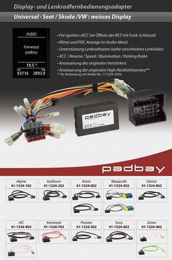 41-1324-702 Padbay Display- und Lenkradfernbedienungsadapter Padbay Interface auf Kenwood für Seat, Skoda, VW