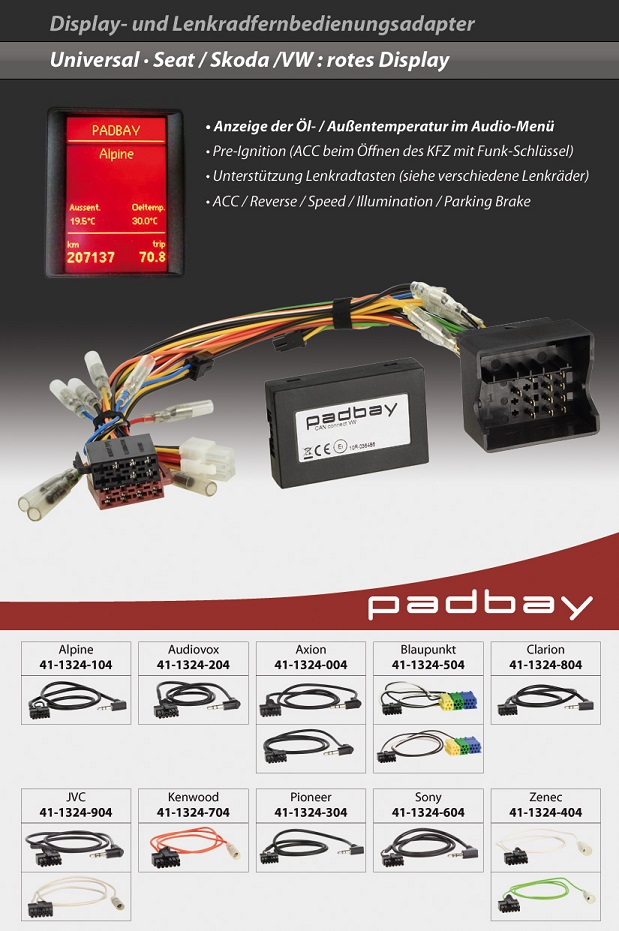 41-1324-304 Padbay Display- und Lenkradfernbedienungsadapter Padbay Interface auf Pioneer für Seat, Skoda, VW - Modelle mit rotem Display