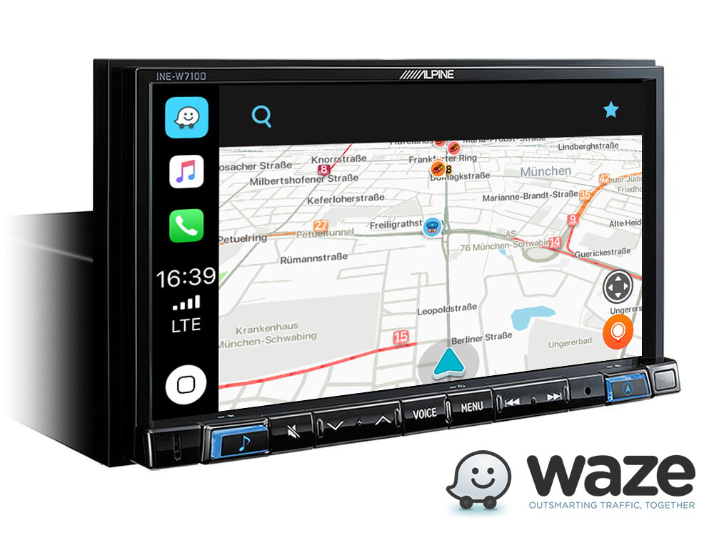 Alpine INE-W720S453B Navigationssystem mit DAB+, 7-Zoll Display, Apple CarPlay und Android Auto für SMART (453)