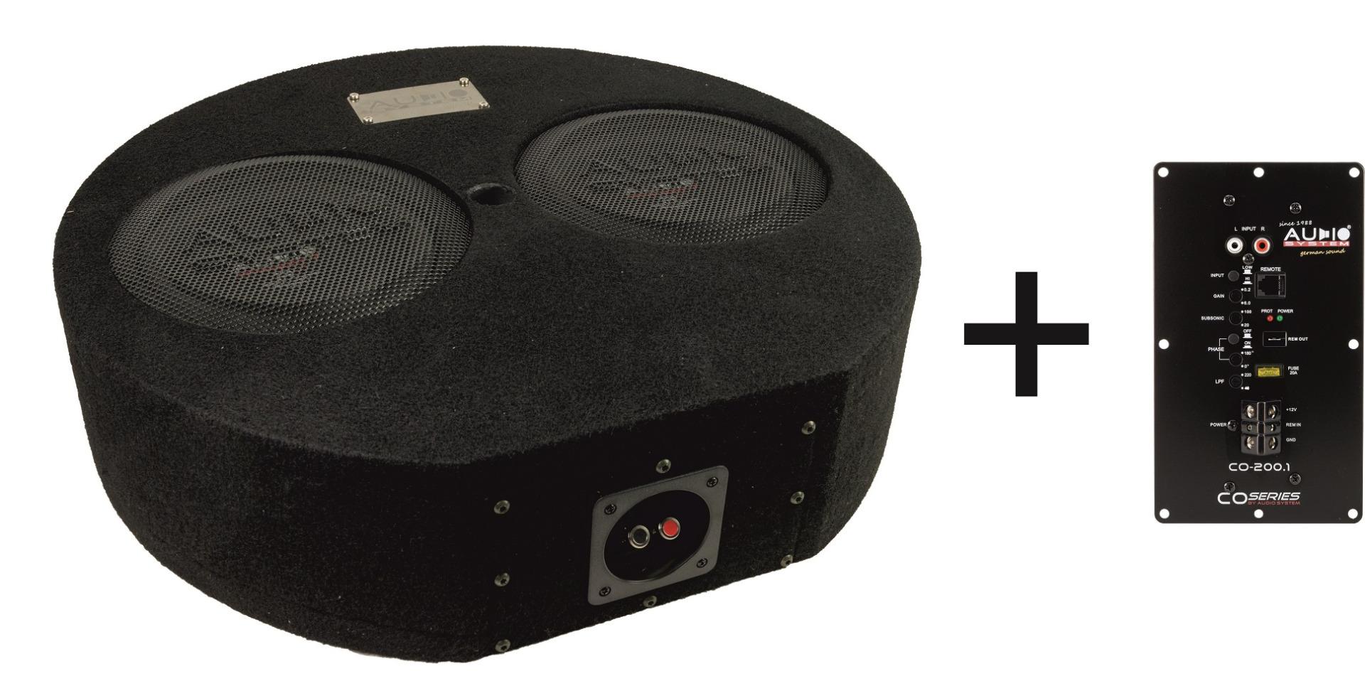 Audio System SUBFRAME R08 FLAT Active-2 EVO Bassreflexgehäuse fürs Reserverad mit 2x R 08 FLAT EVO + CO-200.1