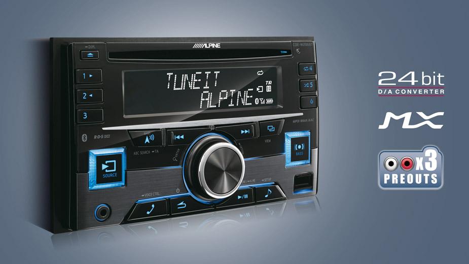 Alpine CDE-W296BT 2-DIN CD-Autoradio mit BLUETOOTH 2-DIN CD/MP3/AAC/WMA/USB-Receiver