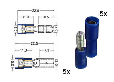 RTA 151.111-0 5 x connecteur rond circulaire et 5 x prise de contacts isolés ensemble de 4mm bleu