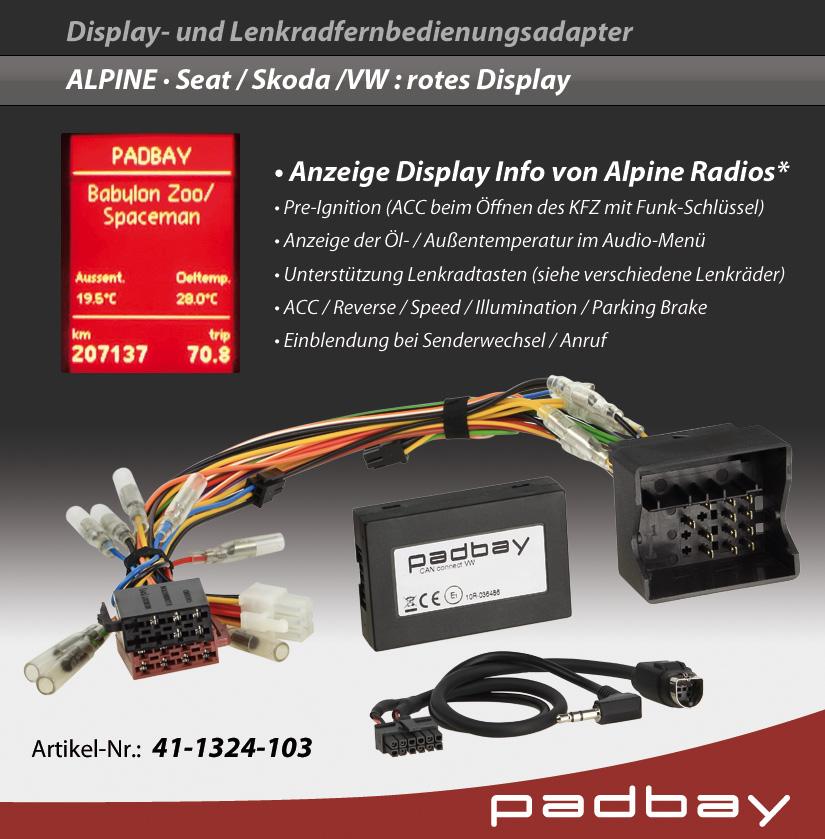 41-1324-103 Padbay Display- und Lenkradfernbedienungsadapter CAN Connect VW, Seat, Skoda rotes Display - ALPINE