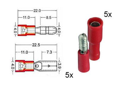 RTA 151.110-0 5 x connecteur rond circulaire et 5 x prise de contacts isolés ensemble de 4mm rouge