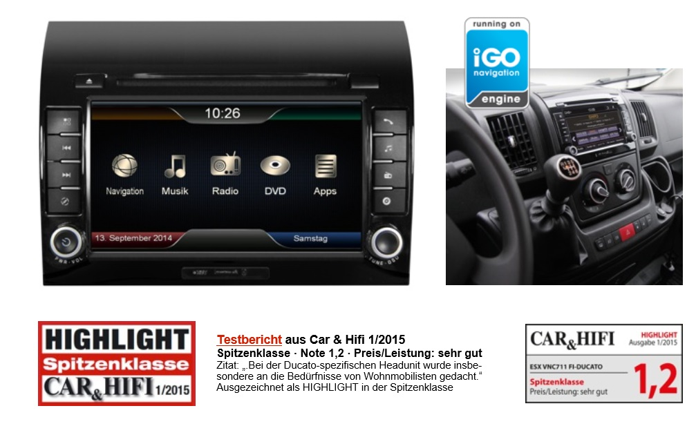 ESX Naviceiver VN711-FI-DUCATO Autoradio mit Navigation für Fiat Ducato, Citroen Jumper, Peugeot Boxer