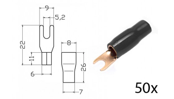 RTA 152.375-2 Clamping - fork terminals insulated, gold-plated, 50x BLACK 16mm2 diam. 5mm