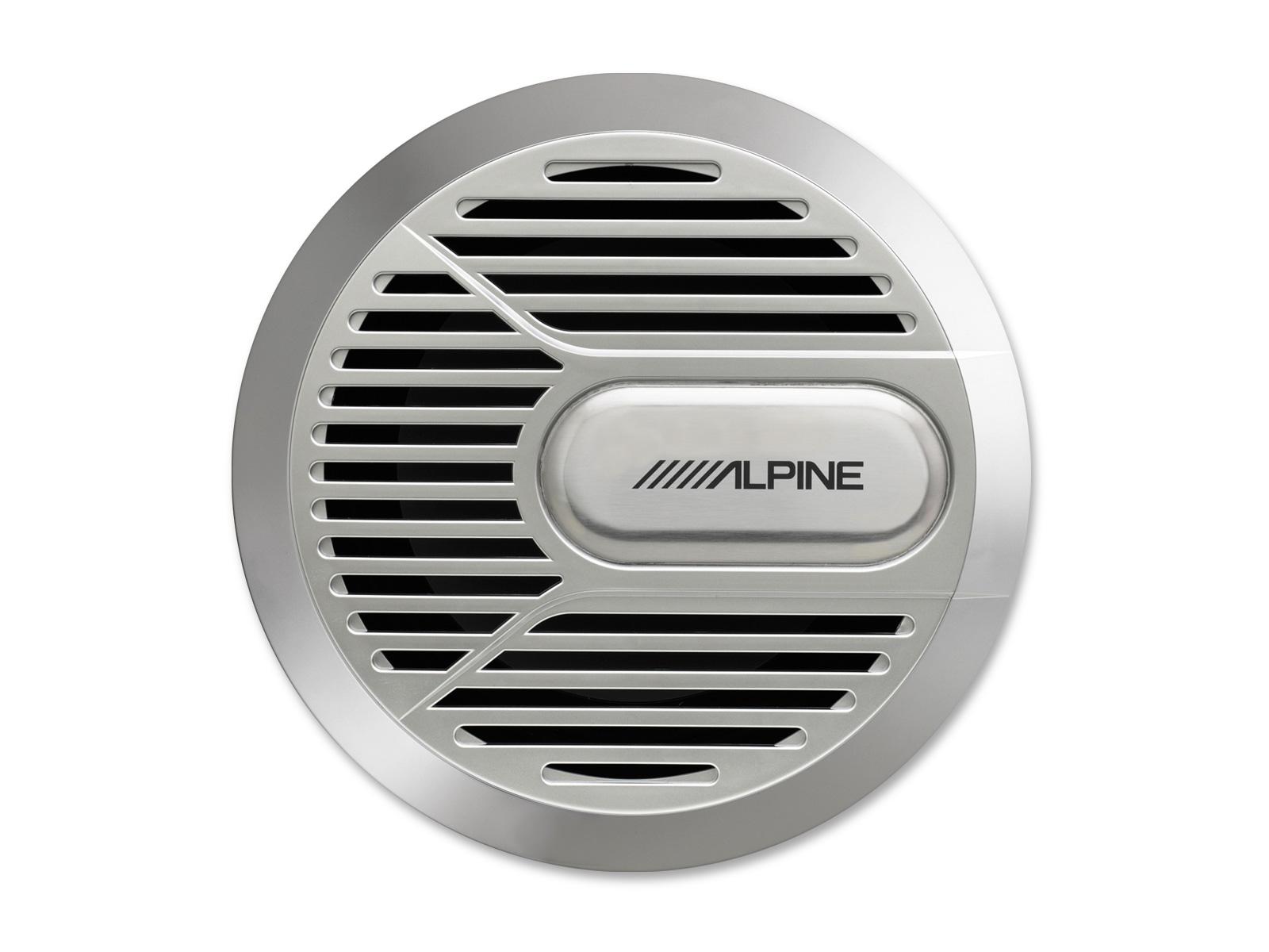 Alpine SWR-M100 (silber) Marine Outdoor Subwoofer für Boote, Yacht, Sportboot usw.