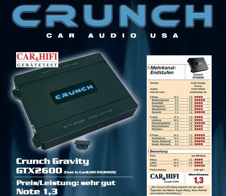 CRUNCH GTX-2600 2-Kanal Verstärker GRAVITY AMP GTX2600