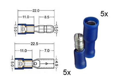 RTA 151.112-0 5 x  connecteur rond circulaire et 5 x prise de contacts isolés mis en 5mm bleu