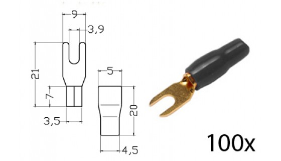 RTA 152.355-2 Klemm-Gabelkabelschuh isoliert, vergoldet, 100x SCHWARZ4,0-6,0mm²/9/11AWG DU 3,5mm