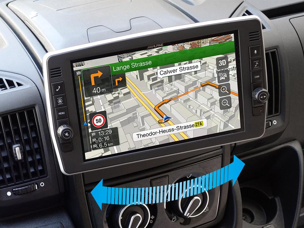 Alpine X903D-DU2 9-Zoll-Navigationssystem mit schwenkbaren Bildschirm für Fiat Ducato III, Citroën Jumper II und Peugeot Boxer II mit TomTom Karten und Apple CarPlay / Android Auto