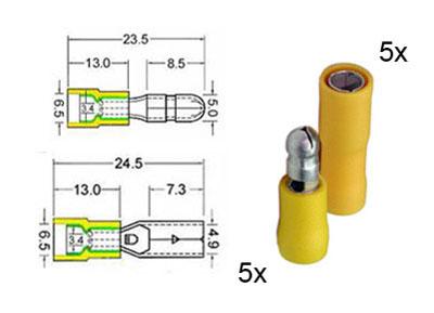 RTA 151.113-0 5 x connecteur rond circulaire et 5 x prise de contacts isolés mis en 5mm jaune