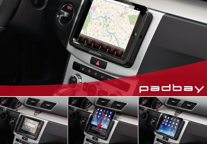 281320-60-1 Padbay Radioblende VW, Seat, Skoda 2-DIN mit I-Pad Mini Einschub VW Padbay 1-DIN Kit black