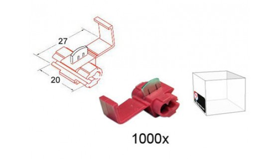 RTA 151.401-3 Branching connector, RED 20x27 mm in 1000 Pack