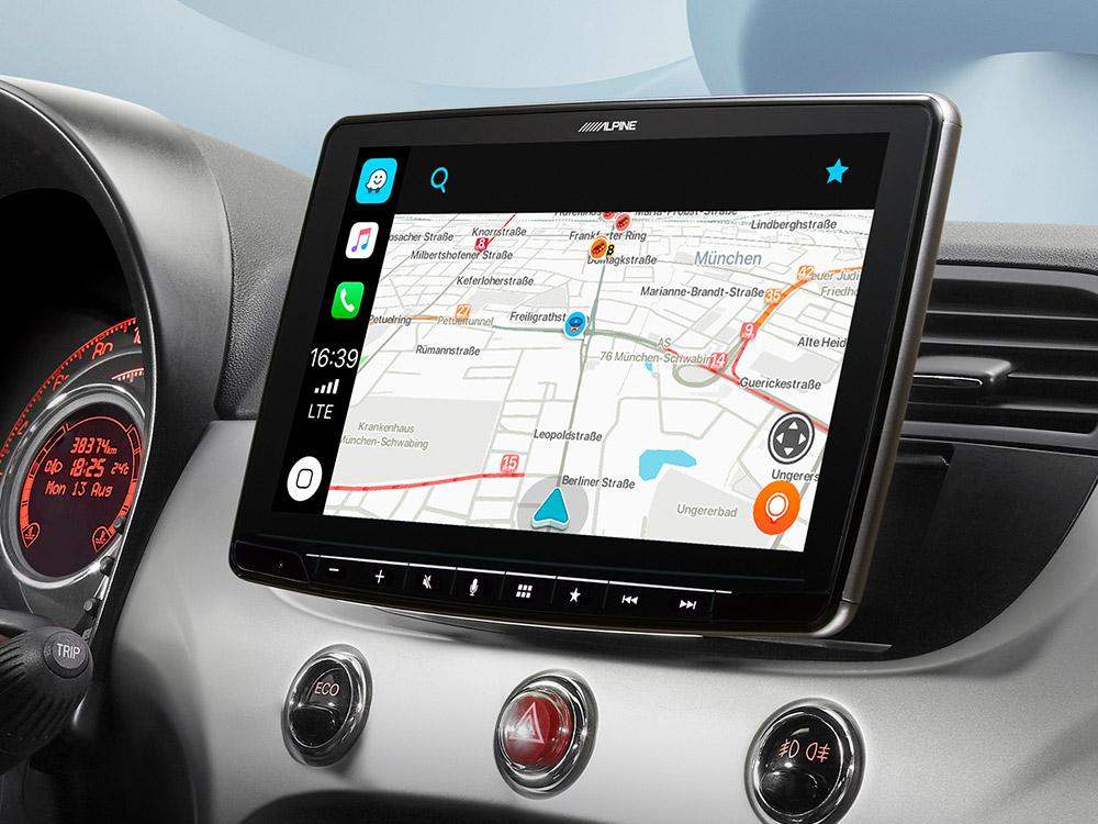 Alpine iLX-F903F312B Autoradio für Fiat 500 mit 9-Zoll-Touchscreen 1-DIN-Einbaugehäuse, DAB+, Apple CarPlay und Android Auto Unterstützung Fiat 500 (312)